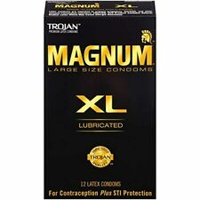 Trojan Magnum XL Large Size Lubricated Condoms Latex Tapered Base 12 Count 1 Box