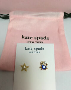 Kate Spade New York Sea Star Starfish and Crab studs Earrings w/ KS Dust Bag New
