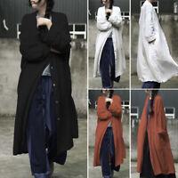 Women Cotton Casual Cardigan Coats Outwear Jacket Long Sleeve Outwear Suit Coat