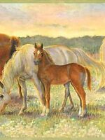 A Field Of Horses with Green Edge Easy Walls Wallpaper Border CK83022B