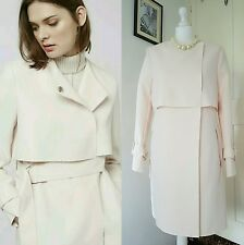 BNWT TOPSHOP Raw Edge Belted Nude Pale Pink Trench Coat/Jacket Size 12 RRP £110