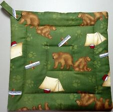 Deluxe Hot Pads / Pot Holders:CAMPING WITH BEARS/ Brown/ Tan on Olive * Quilted