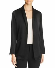 NEW EILEEN FISHER BLACK SILK CREPE SATIN SHAWL COLLAR JACKET / BLAZER L $448