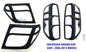 Set Matte Black Head Tail Light Lamp Cover For Nissan Frontier Navara 2005 - 13