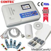 Electrocardiógrafo digital de 3 canales ECG Machine EKG Software para PC Printer
