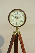 Vintage Wooden Wall Clock with Stand Home Decor Grandfather Style Floor Clock