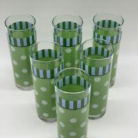Gail Pittman Southern Living Home Provence 6 Polka Dot Highball Glass Tumblers