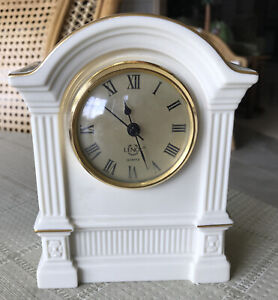 "Lenox Porcelain Quartz Mini Mantle Clock14 K Trim 6 1/2"" Tall"