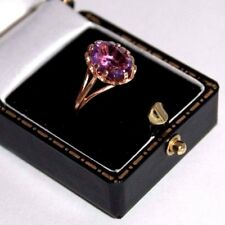 Vintage 9 ct gold amethyst cocktail ring full hallmarks size M 1/2