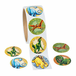 Dinosaur Stickers...50 PACK...Party Loot Bags...Treat Boxes Favours..Dino Favors