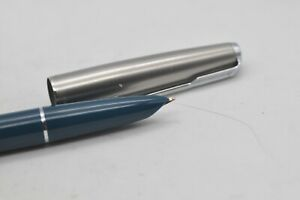 Lovely Scarce Vintage Parker No 51 Classic Fountain Pen Teal With Steel Cap Med