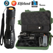 SET 15000LM Elfeland T6 LED Tactical 5Modes Flashlight Zoomable Torch 18650 Lamp