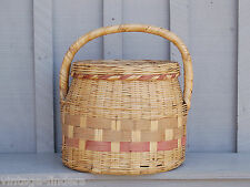 Old Vintage Sewing / Knitting / Crochet Rattan Craft Basket Storage Tool Decor