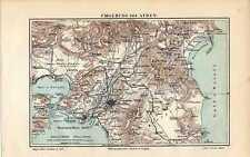 Antique map landkarte Athens Athene Greece 1902