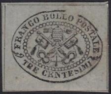 ITALY ROMAN STATES 1867 3¢ BLACK ON GRAY GLAZED PAPER W/BROKEN FRAME Sc.#13 CAT.