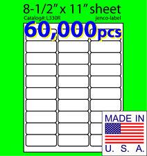 L330R, 60,000 Address Labels,Laser Inkjet Labels, 2-5/8x1