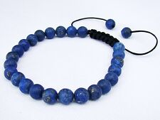 Men's Bracelet all 8mm LAPIS LAZULI gemstone natural beads frosted