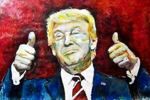 "PRESIDENT DONALD TRUMP ! USA ! AMERICAN ! MARCELO NEIRA ORIGINAL ART ! LARGE 40"""