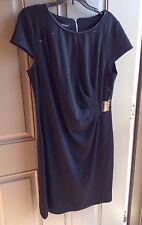 Spense Dress Black  Knit Roche Front Short Sleeve Sheath 4 NWT