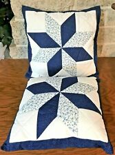 """NEW LOT SET OF 2 HANDMADE SILK STAR QUILTED PILLOWS 14"""" AND 16"""" BLUE WHITE COVER"""