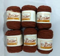 Vintage Virgin Wool Yarn Lot 6 Skeins Chestnut Brown Same Dye Lot USA Made