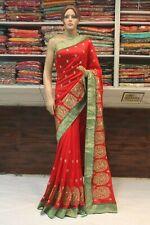 Bollywood Raw Silk Designer Saree Kundan Work Indian Sari Bridal Party Dress
