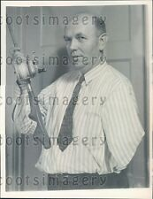 1945 One Armed Fisherman Inventor of Special Fishing Rod Butt Press Photo
