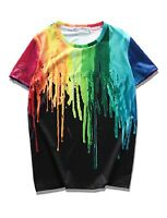 Paint Dripping T-Shirt   black 3d printed unique graffiti festival trippy baked