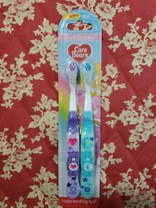 CARE BEARS Children's Toothbrush Soft Bristles ~ Brush Buddies 2 PACK