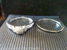 GENUINE HALO DIAMOND WEDDING ENGAGEMENT BAND RING SET  SZ 7  sizeable