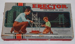 1950s Erector Set No. 6 1/2 100 Toys in One, A.C. Gilbert Parts and Instructions