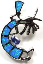 Tanzanite & Blue Fire Opal Inlay 925 Sterling Silver Kokopelli Pendant