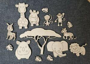 Wooden MDF Safari theme wild animals shapes craft Embellishments