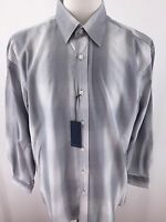 Michelsons Studio NWT Mens Large White and Grey Striped long sleeve E-64