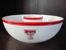 "TEXAS TECH Red Raiders CHIP AND DIP BOWL 14"" New IN Box CERAMIC memory company"