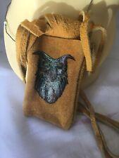 Vtg Ethic Leather Medicine Bag Crystals Pouch Fringe Boho Hippy Painted Owl