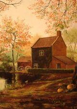 5x7  HALLOWEEN PRINT OF PAINTING PUMPKIN  RYTA AUTUMN MILL BARN Cider Pond Art