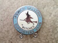 Ipswich Speedway Witches Supporters Club Vintage Motorcycle Racing Pin Badge