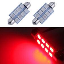 2Pcs Red 42mm 8SMD 578 LED 211-2 214-2 Bulb Festoon 5050 Dome Map Cargo Light