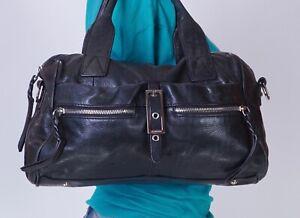 B.MAKOWSKY Medium Black Leather Shoulder Hobo Tote Satchel Purse Bag