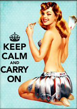 Keep Calm and Carry On - Pinup Collage 8x10 Fabric Block - Buy 2, Get 3rd FREE!