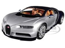 BUGATTI CHIRON SILVER / BLUE 1:24-1:27 DIECAST MODEL CAR BY WELLY 24077