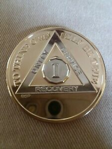 1 YEAR AA GOLD/SILVER Bi-Plated Alcoholics Anonymous CHIP COIN MEDALLION