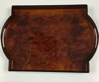 NEW Vintage Charles Roberts Large Brown Lacquered Handled Serving Tray