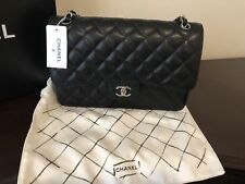 New100% Chanel Black cowhide Classic Double Flap Bag