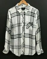 Rails Women's Black White Plaid Button Up Shirt Long Sleeve Top sz M Medium