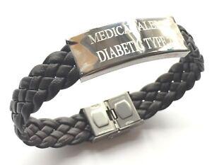 Diabetic Type 2 Medical Alert S.O.s. Brown Woven Leather Bracelet