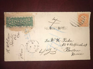 F2 On 1884 Registered Front Cover, Tiverton Ont. Split Ring Cancel To Boston Usa