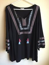 Style Co Black Embroidered 3X Womens Shirt Multicolor