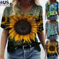 Women's Summer V-Neck Short Sleeve T-Shirt Floral Print Casual Blouse Loose Tops